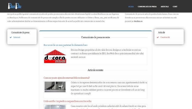 BiziBiz platforma online a celor care scriu articole si/sau comunicate de presa